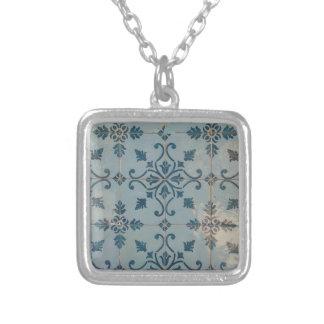 Portugal Vintage Mosaics Square Pendant Necklace