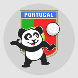 Round Sticker with Portugal Volleyball Panda design