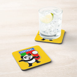 Beverage Coaster with Portugal Volleyball Panda design