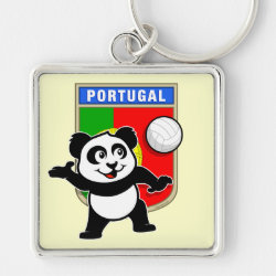 Portugal Volleyball Panda Premium Square Keychain