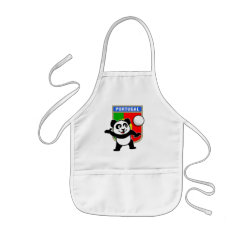Kid's Apron with Portugal Volleyball Panda design