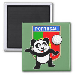 Square Magnet with Portugal Volleyball Panda design