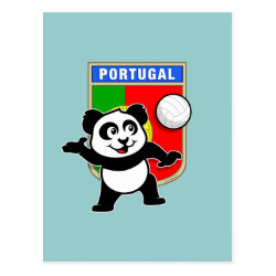 Postcard with Portugal Volleyball Panda design