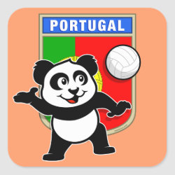 Square Sticker with Portugal Volleyball Panda design