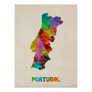 Portugal Watercolor Map Poster