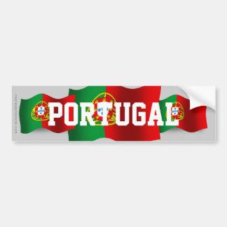 Portugal Waving Flag Car Bumper Sticker