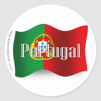 Portugal Waving Flag Classic Round Sticker
