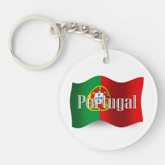 Portugal Waving Flag Double-Sided Round Acrylic Keychain