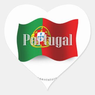 Portugal Waving Flag Heart Sticker