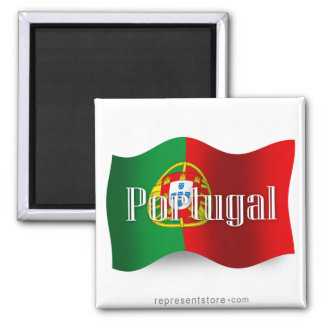 Portugal Waving Flag 2 Inch Square Magnet