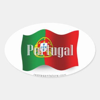 Portugal Waving Flag Oval Sticker