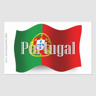 Portugal Waving Flag Rectangular Sticker