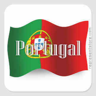 Portugal Waving Flag Square Sticker