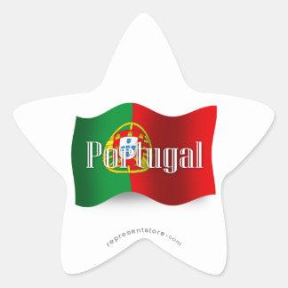 Portugal Waving Flag Star Sticker