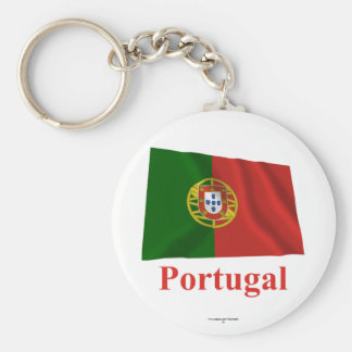 Portugal Waving Flag with Name Basic Round Button Keychain