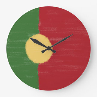Portugal wax pencil sketched flag large clock