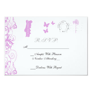 Portugal Wedding RSVP Card In Plum And White Personalized Invites