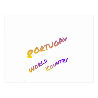 Portugal world country,  colorful text art postcard