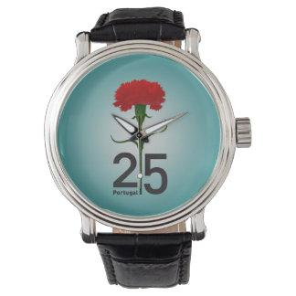 Portugal y clavel rojo reloj