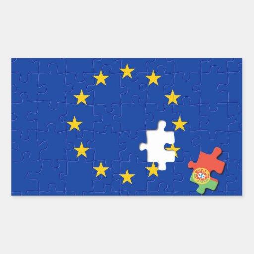 Portugal y unión europea rectangular pegatina