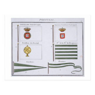 Portugese Flags, from a French book of Flags, c.18 Postcard