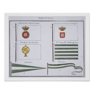 Portugese Flags, from a French book of Flags, c.18 Poster