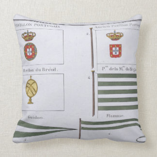 Portugese Flags, from a French book of Flags, c.18 Throw Pillow