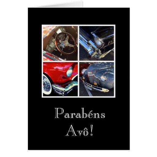 Portugués: Avô/coche de los parabenes Tarjeton