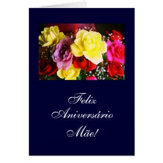 Portugués: B-día de Aniversário DA Mãe/de la mamá Tarjeta De Felicitación