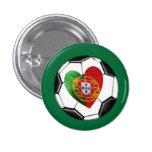 Portugués: bandera y corazón pin redondo 2,5 cm