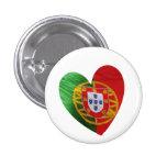 Portugués: bandera y corazón pin redondo de 1 pulgada