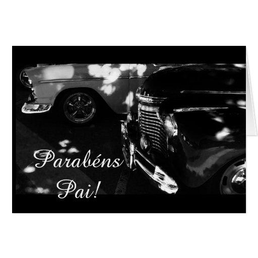 Portugués: Coche de los parabenes pai/ Tarjetón