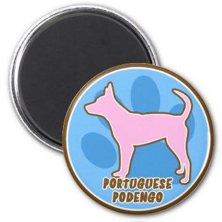 Portugués de moda Podengo Imán Redondo 5 Cm