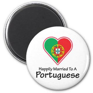 Portugués feliz casado imán redondo 5 cm
