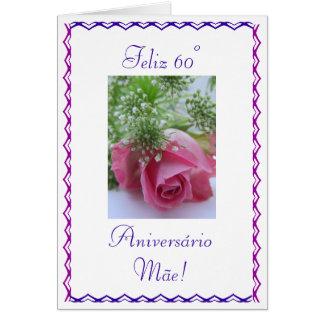 Portugués: mãe de DA del aniversário 60 Tarjeta Pequeña