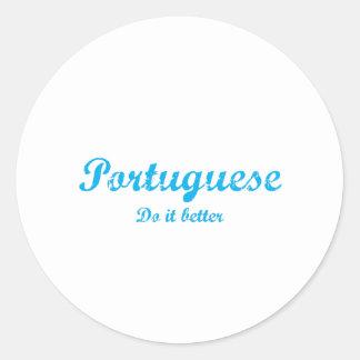 Portugués mejora pegatina redonda