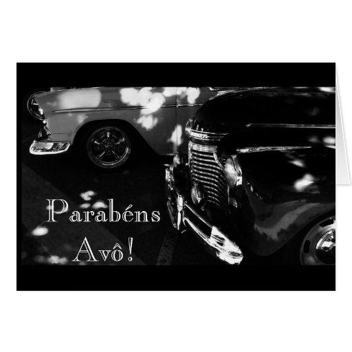 Portugués: Parabenes Avô/coche Tarjeton