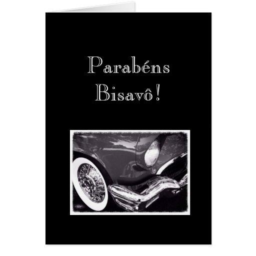 Portugués: Parabenes Bisavô/coche Felicitacion