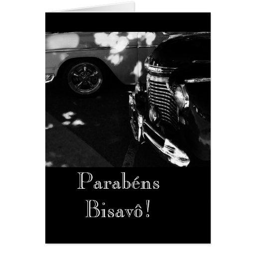 Portugués: Parabenes Bisavô/coche Felicitación