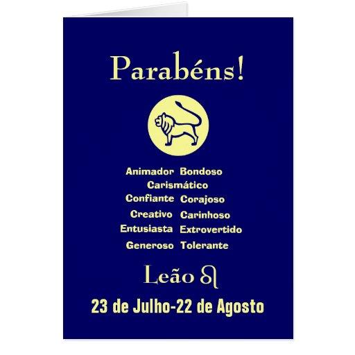Portugués: ¡Parabenes Leao del cumpleaños de Leo! Tarjeton