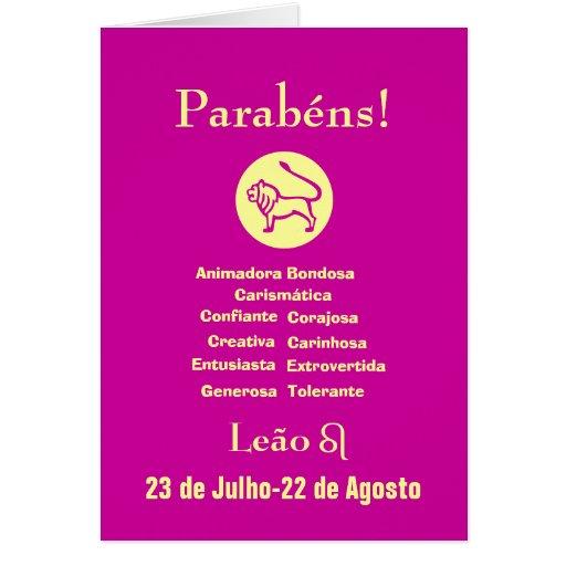 Portugués: ¡Parabenes Leona del cumpleaños de s de Tarjetón