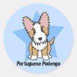 Portugués Podengo del alambre de la estrella de Pegatina Redonda