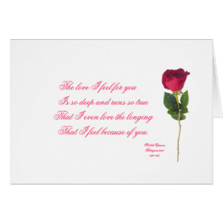 Portugués: poema e Rosa - el día de San Valentín Tarjeta