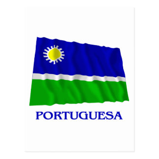 Portuguesa Waving Flag with Name Postcard
