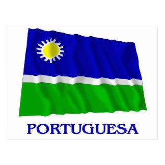Portuguesa Waving Flag with Name Postcard