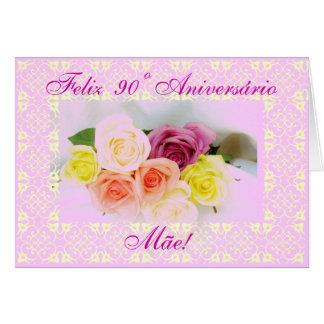 Portuguese: 90th birthday - 90 Aniversario Greeting Cards