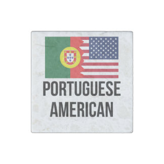 Portuguese American Flag Stone Magnet