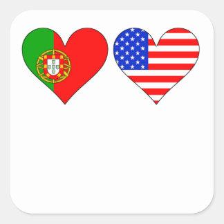 Portuguese American Hearts Square Sticker
