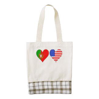 Portuguese American Hearts Zazzle HEART Tote Bag