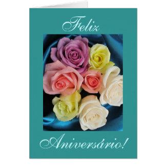 Portuguese: Aniversario Parabens Birthday -teal Card